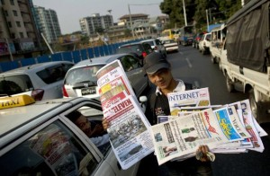 Newspaper are sold on the streets of Burma.