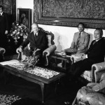 1975, December 6 – Jepara Room, Istana Merdeka (Credential Hall) – Jakarta, Indonesia – General Suharto, Adam Malik; Gerald R. Ford, Henry A. Kissinger, Indonesian Officials – sitting on sofas in front of large carved teak wall sculpture telling story of the culture; all not in frame – President's Far Eastern Trip; Indonesia; Head to Head Meeting with President Suharto and Foreign Affairs Minister Malik of Republic of Indonesia