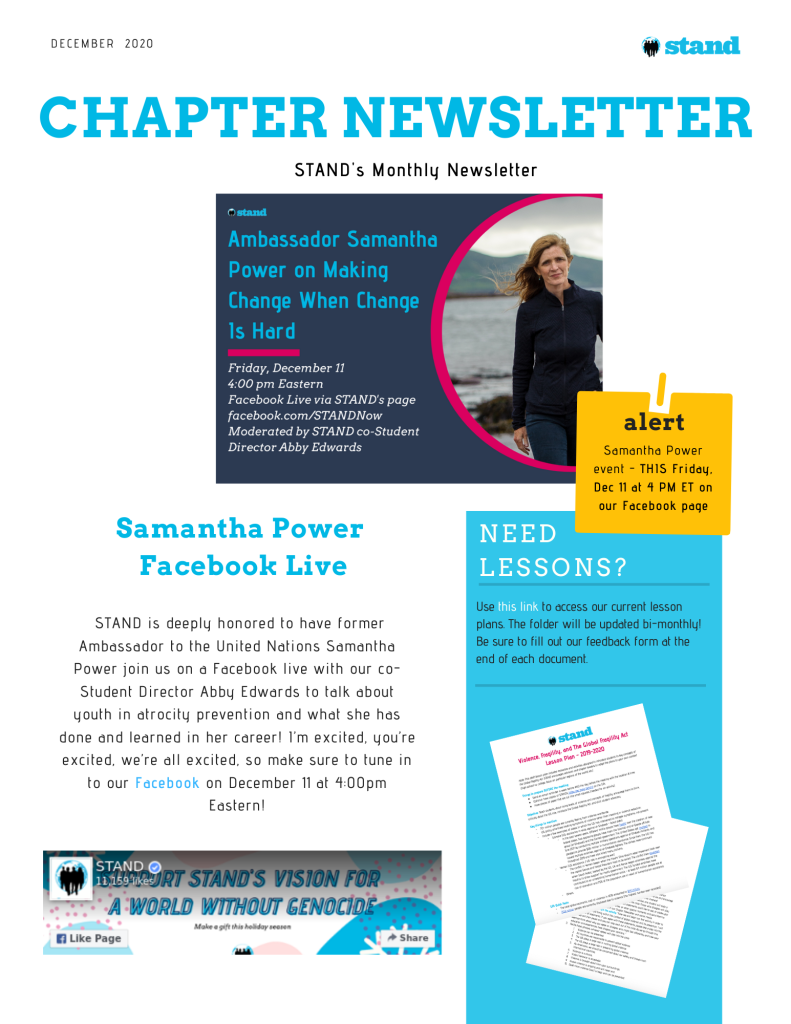 STAND Chapter Newsletter - Dec 2020